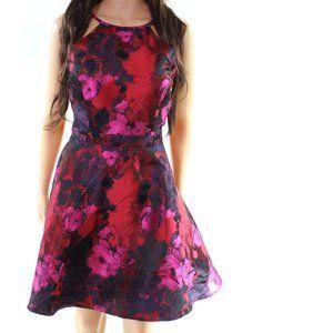 NEW Xscape floral jacquard shiny a-line dress NWOT